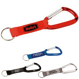 Promotional Key Tag Carabiner With Strap And Pvc Patch
