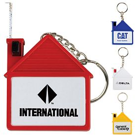 Promotional House Tape Measure With Release Button And Key Chain