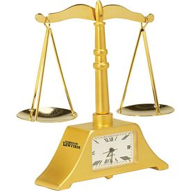 Promotional Die Cast Scale of Justice Clock