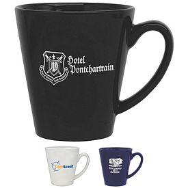 Customized 12 oz. Cafe Angle Coffee Mug - Promotional Ceramic Mugs