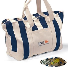 Promotional Large Striped Zippered Cotton Canvas Tote