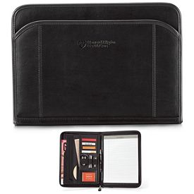 Promotional Global 10.25x13.75 Zippered Leather Padfolio
