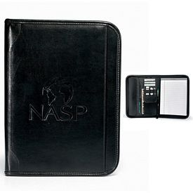 Promotional Vintage 10.5x13.75 Zippered Leather E-Padfolio