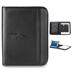Promotional Noble 10.25x13 Zippered Leather Tablet Stand E-Padfolio