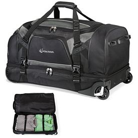 Promotional Vertex Tech Polyester Drop Bottom Wheeled Duffel