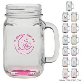 Promotional 16 oz. Glass Handle Mason Jar with Custom Glow
