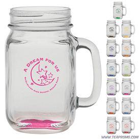Promotional 16 oz. Glass Handle Mason Jar with Custom Glow