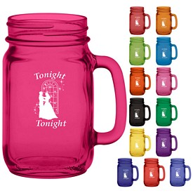 Promotional 16 oz. Glass Handle Mason Jar with Full Body Custom Glow