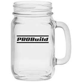 Promotional 16 oz. Glass Handle Mason Jar
