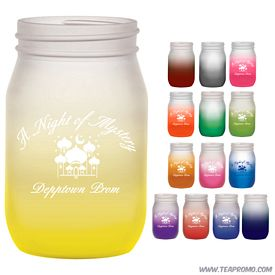 Promotional 16 oz. Shindig Glass Jar with Custom Frost Glow