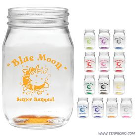 Promotional 16 oz. Shindig Glass Jar with Custom Glow