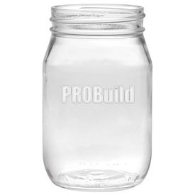 Promotional 16 oz. Shindig Glass Jar with Deep Etching