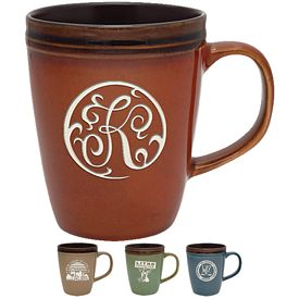 Promotional 14 oz. Antigua Ceramic Coffee Mug with Deep Etching