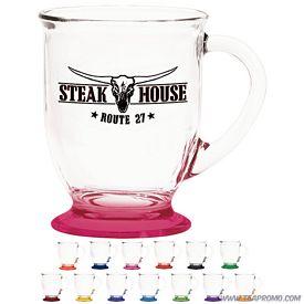 Promotional 16 oz. Cafe America Glass Mug with Custom Glow