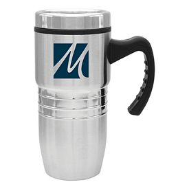Promotional 18 oz. Steel City Stainless Mug w/Polished Rings