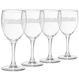 Promotional 8.5 oz. Clear Tall Stem Wine Glass 4-Pack Gift Set w/Deep Etch
