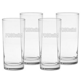 Promotional 15 oz. Deluxe Cooler Glass 4-Pack Gift Set w/Deep Etch