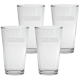 Promotional 16 oz. Pint Mixing Glass 4-Pack Gift Set w/Deep Etch