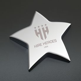 Promotional Silver Star Engraved Paperweight