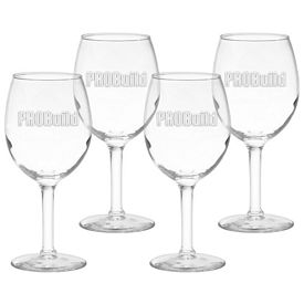 Promotional 11 oz. White Wine Glass 4-Pack Gift Set w/Deep Etch