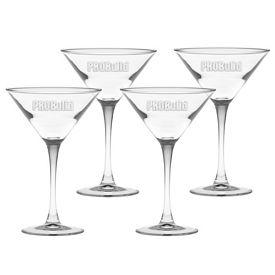 Promotional 7.25 oz. Classic Stem Martini 4-Pack Gift Set w/Deep Etch