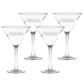 Promotional 10 oz. Classic Stem Large Martini 4-Pack Gift Set w/Deep Etch