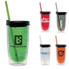 Promotional 15 oz. Straw Fun Cup Tumbler