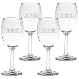 Promotional 10 oz. Napa Valley Goblet Wine Glass 4-Pack Gift Set w/Deep Etch