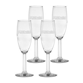 Promotional 6 oz. Napa Valley Flute with Optic Stem 4-Pack Gift Set w/Deep Etch