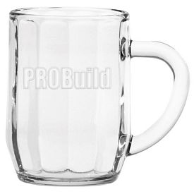Promotional 10 oz. Optic Haworth Glass Coffee Mug with Deep Etching