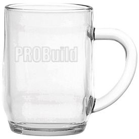 Promotional 10 oz. Glass Haworth Coffee Mug with Deep Etching