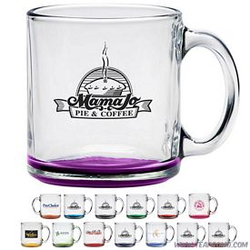 Promotional 13 oz. Clear Glass Coffee Mug with Custom Glow