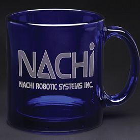 Promotional 13 oz. Midnight Blue Glass Coffee Mug with Deep Etching