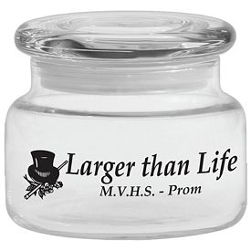 Promotional 8 oz. Apothecary Jar with Flat Lid