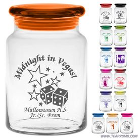 Promotional 26 oz Clear Apothecary Jar w/Flat Lid with Custom Glow