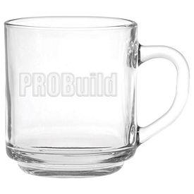 Promotional 10 oz. Capri Glass Coffee Mug with Deep Etching