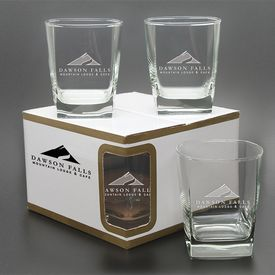 Promotional 13 oz. Sterling DOF Glass 4-Pack Gift Set with Deep Etching