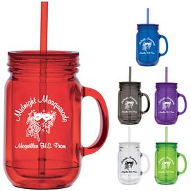 Promotional 16 oz. Fixin' for Fun Straw Masion Jar