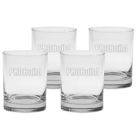 Promotional 14 oz. Executive Double Old Fashion 4-Pack Gift Set w/Deep Etch