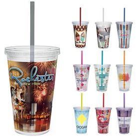 Promotional 16 oz. Vivid Print Straw Carnival Cup