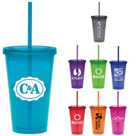 Promotional 16 oz. Translucent Color Straw Carnival Cup