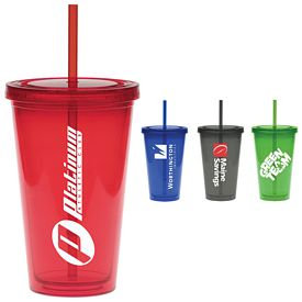 Promotional 20 oz. Colored Carnival Cup Straw Tumbler