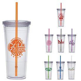 Promotional 24 oz. Carnival Cup Straw Tumbler