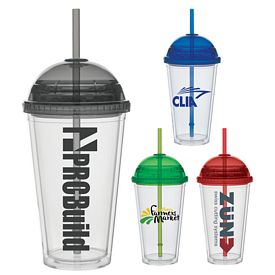 Promotional 16 oz. Color Dome Lid Sraw Carnival Cup