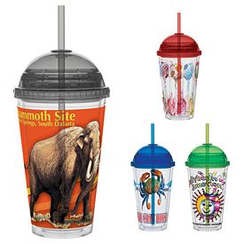 Promotional 16 oz. Color Dome Lid Vivid Print Straw Carnival Cup