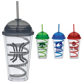 Promotional 16 oz. Color Dome Curley Straw Carnival Cup