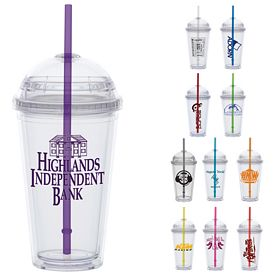 Promotional 16 oz. Dome Lid Straw Carnival Cup