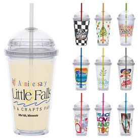 Promotional 16 oz. Clear Dome Lid Vivid Print Straw Carnival Cup