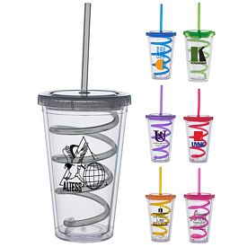 Promotional 16 oz. Color Lid Curly Straw Carnival Cup