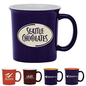 Promotional 14 oz. Universtity Coffee Mug with Deep Etching